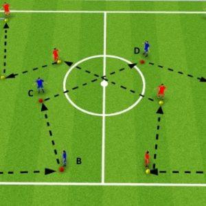exercice physique foot avec ballon passe et suit