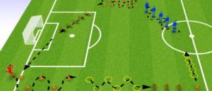 Travail physique d'appuis à haute vitesse au football