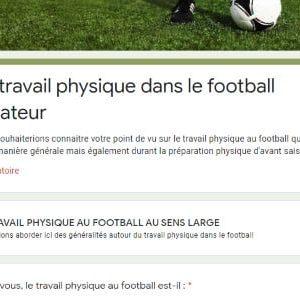 Résultats de l'enquête sur le travail physique au football